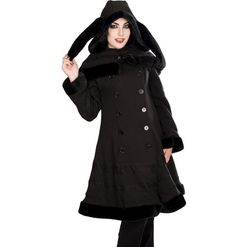 Ladys Cape Coat Wool Damen Wollmantel Black Pistol
