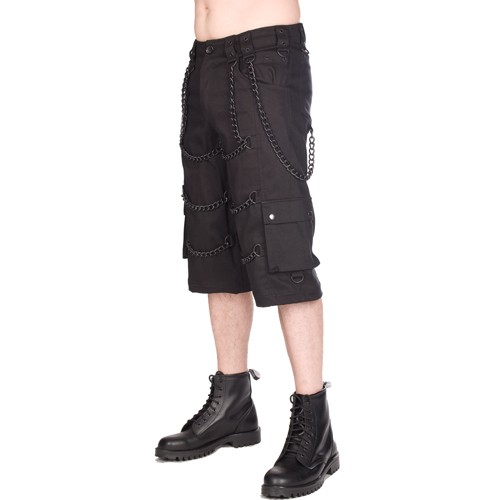 Black Pistol Chain Short Pants Denim