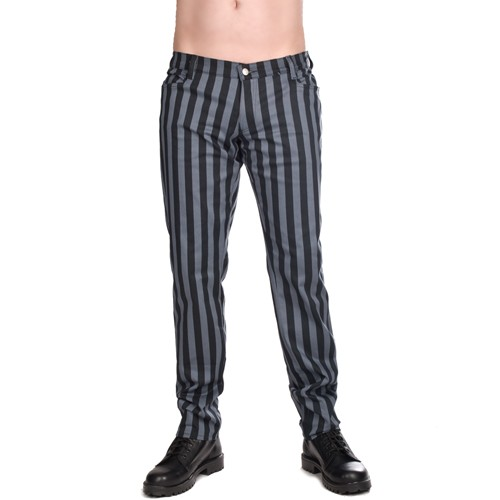 Close Pants Stripe Denim grau schwarz gestreift