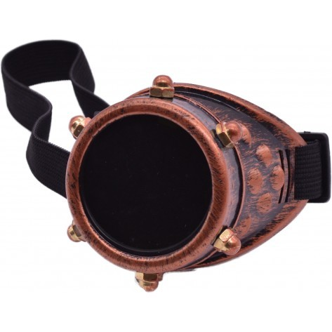 Steampunk-Monokel rostbraun mt Stretchband, ART OF DARK Goggle