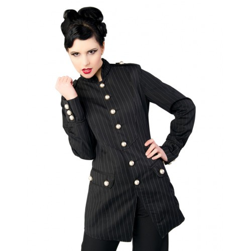 Ladys Army Coat Pinstripe